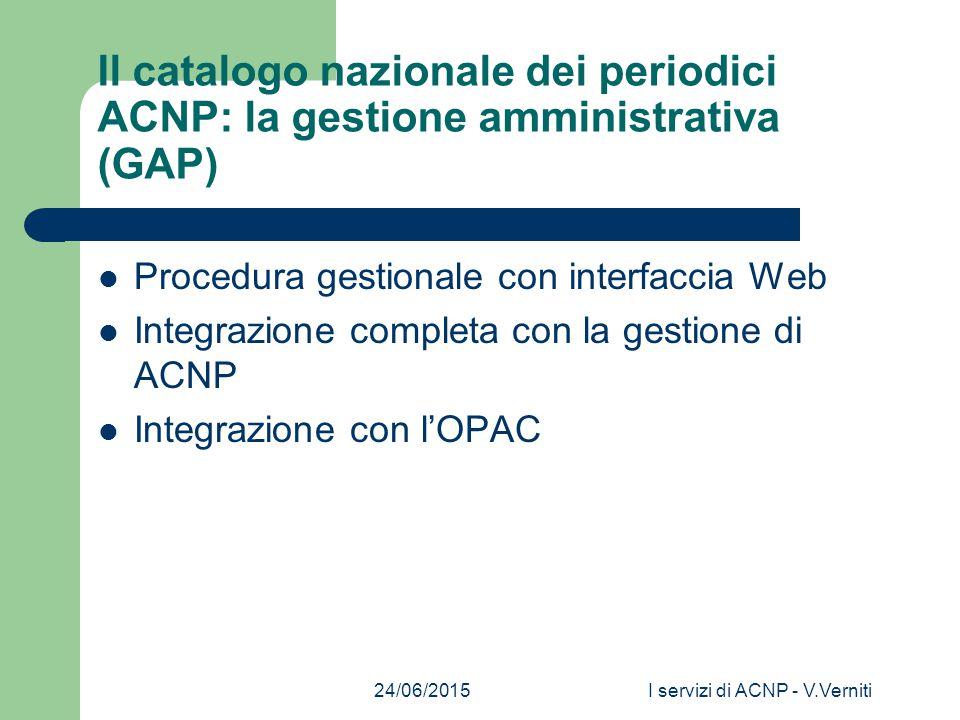 24/06/2015I servizi di ACNP - V.Verniti Il catalogo nazionale dei periodici ACNP: la gestione amministrativa (GAP) Procedura gestionale con interfaccia Web Integrazione completa con la gestione di ACNP Integrazione con l'OPAC