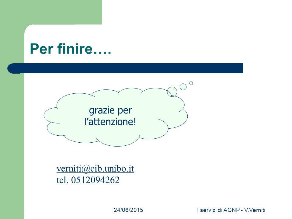 24/06/2015I servizi di ACNP - V.Verniti Per finire….