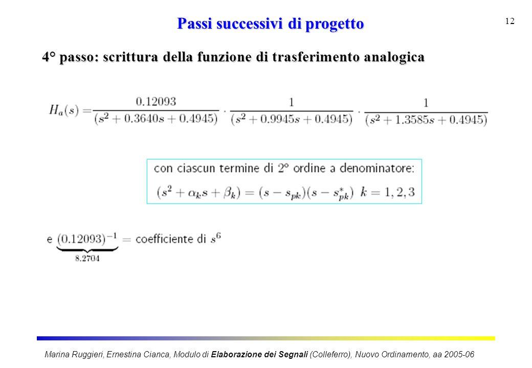 Marina Ruggieri, Ernestina Cianca, Modulo di Elaborazione dei Segnali (Colleferro), Nuovo Ordinamento, aa 2005-06 12 Passi successivi di progetto 4° p