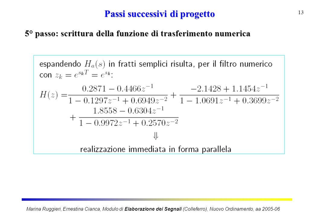 Marina Ruggieri, Ernestina Cianca, Modulo di Elaborazione dei Segnali (Colleferro), Nuovo Ordinamento, aa 2005-06 13 Passi successivi di progetto 5° p