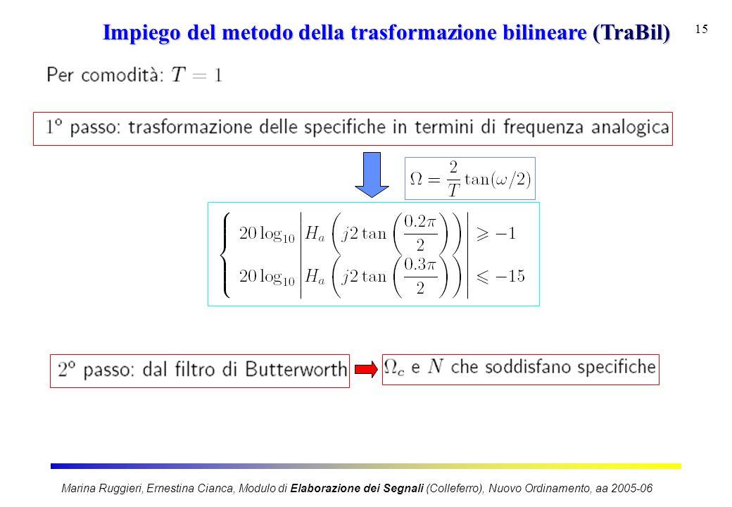 Marina Ruggieri, Ernestina Cianca, Modulo di Elaborazione dei Segnali (Colleferro), Nuovo Ordinamento, aa 2005-06 15 Impiego del metodo della trasform