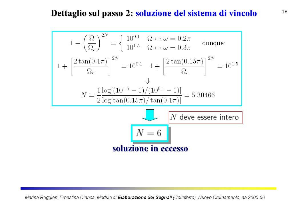 Marina Ruggieri, Ernestina Cianca, Modulo di Elaborazione dei Segnali (Colleferro), Nuovo Ordinamento, aa 2005-06 16 Dettaglio sul passo 2: soluzione