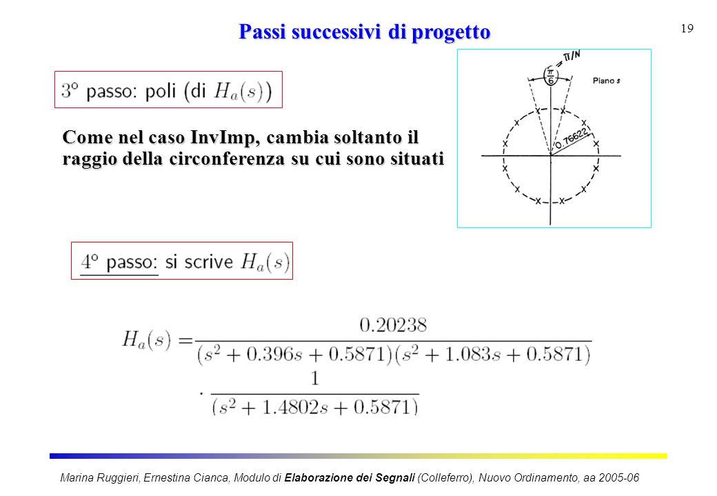Marina Ruggieri, Ernestina Cianca, Modulo di Elaborazione dei Segnali (Colleferro), Nuovo Ordinamento, aa 2005-06 19 Passi successivi di progetto Come