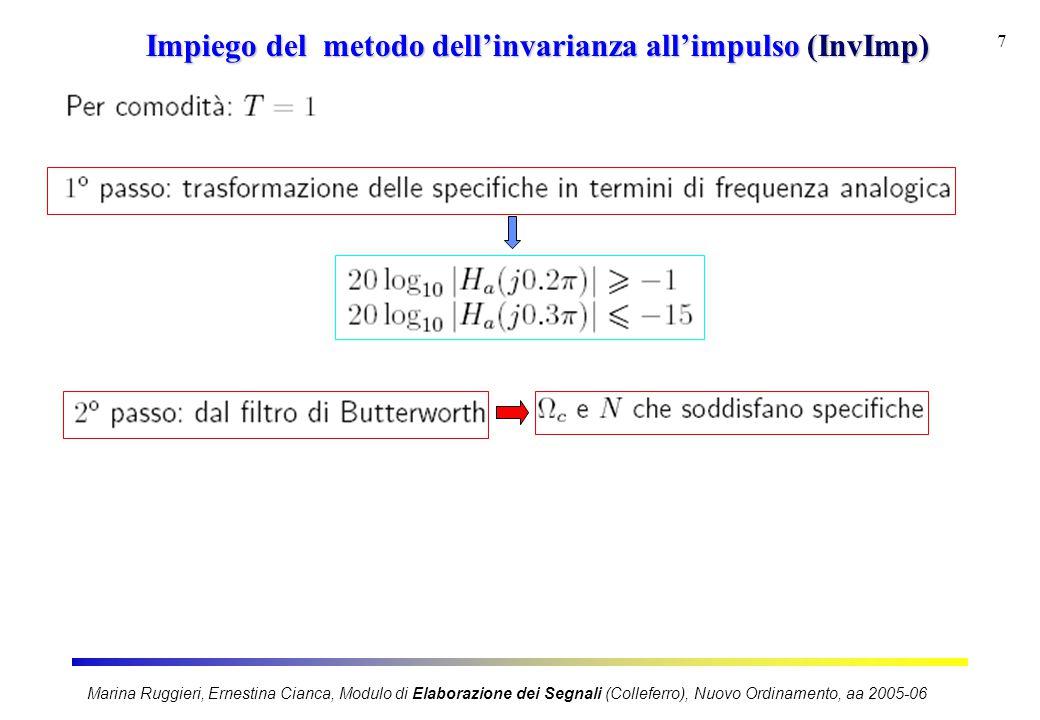 Marina Ruggieri, Ernestina Cianca, Modulo di Elaborazione dei Segnali (Colleferro), Nuovo Ordinamento, aa 2005-06 7 Impiego del metodo dell'invarianza