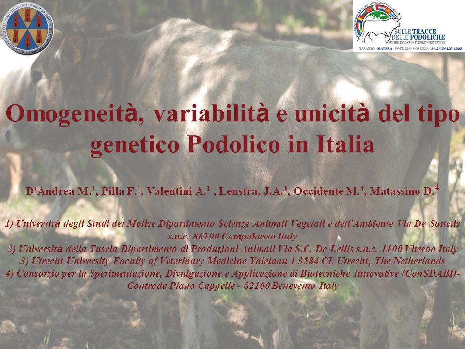 Indagare le relazioni genetiche della Podolica con altre razze europee Accertare il grado di uniformità genetica della Podolica allevata in diverse regione Determinare il grado di variabilità genetica della Podolica in Italia