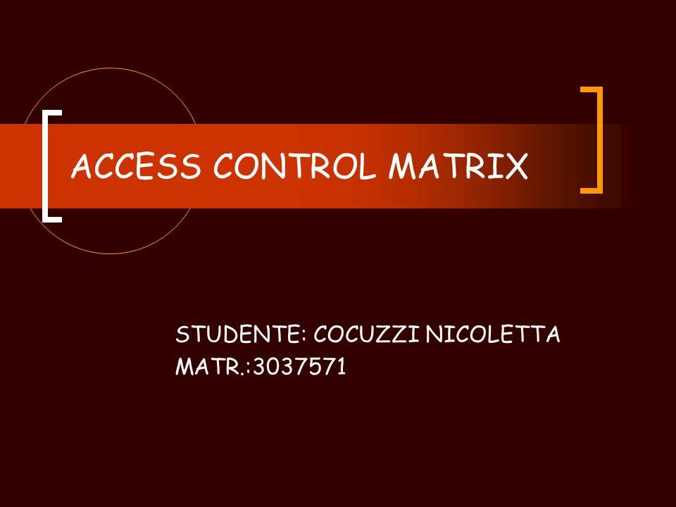 ACCESS CONTROL MATRIX STUDENTE: COCUZZI NICOLETTA MATR.:3037571
