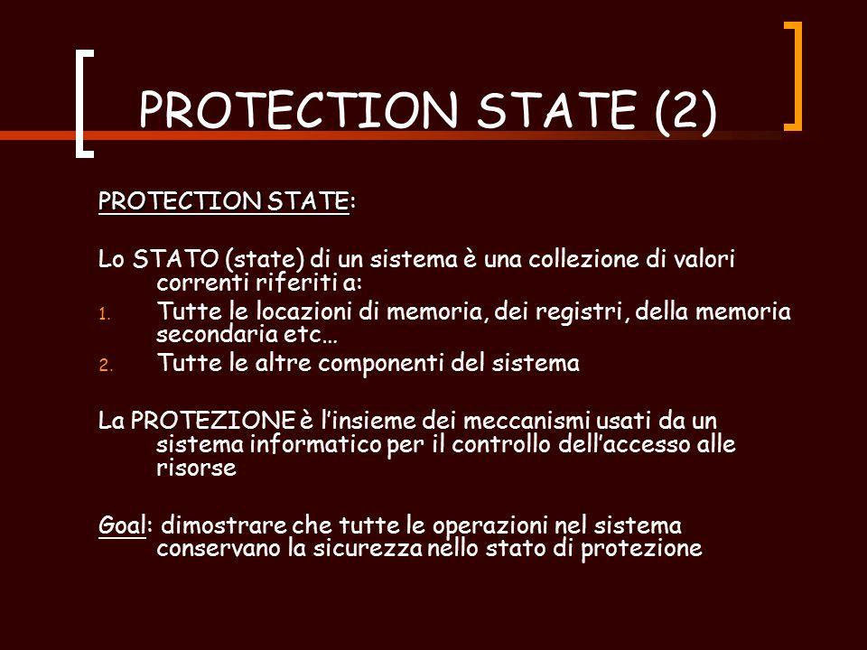 PROTECTION STATE (2) PROTECTION STATE: Lo STATO (state) di un sistema è una collezione di valori correnti riferiti a: 1.