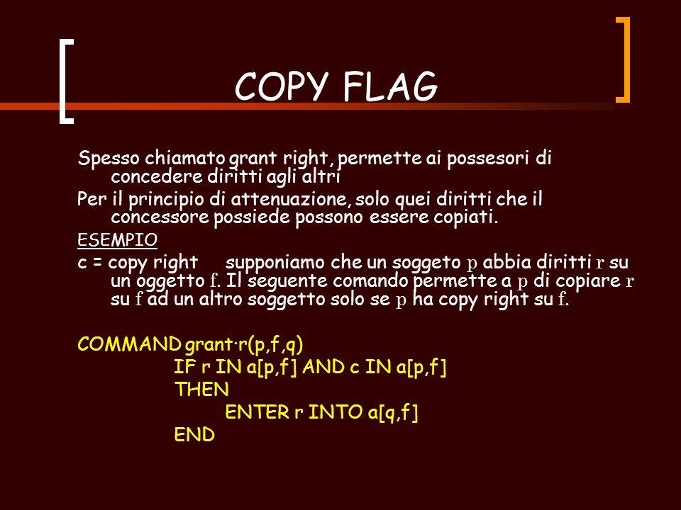 SPECIAL RIGHT Sono due i diritti per cui vale la pena discutere: copy flag own right Entrambi questi diritti sono relativi al principio di attenuazione dei privilegi di cui parleremo dopo.