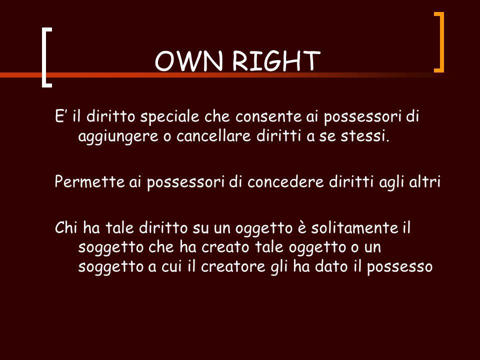 COPY FLAG Spesso chiamato grant right, permette ai possesori di concedere diritti agli altri Per il principio di attenuazione, solo quei diritti che il concessore possiede possono essere copiati.