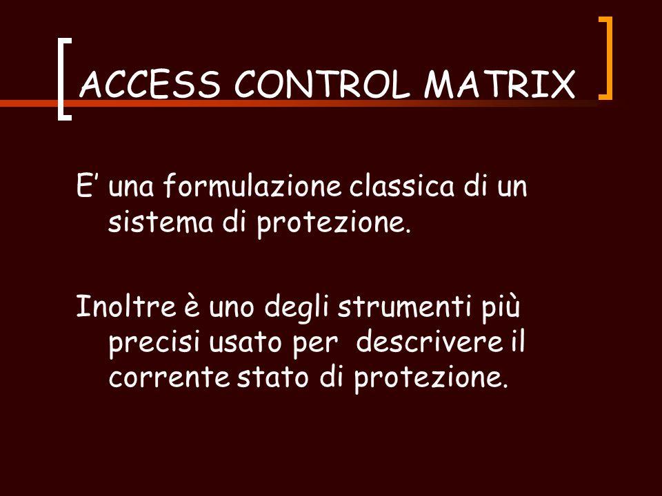 MECANISMI DI RAPPRESENTAZIONE (2) Access Control Matrix può essere implementata in due modi:  ACCESS CONTROL LIST (colonne);  CAPABILITY LIST (righe).