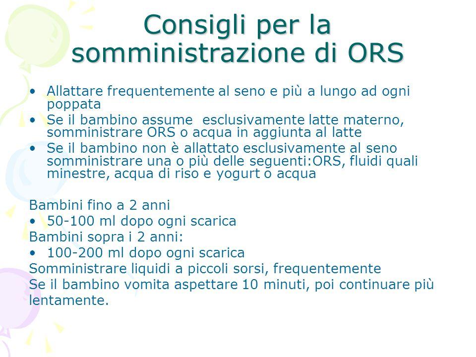 Consigli per la somministrazione di ORS Allattare frequentemente al seno e più a lungo ad ogni poppata Se il bambino assume esclusivamente latte mater