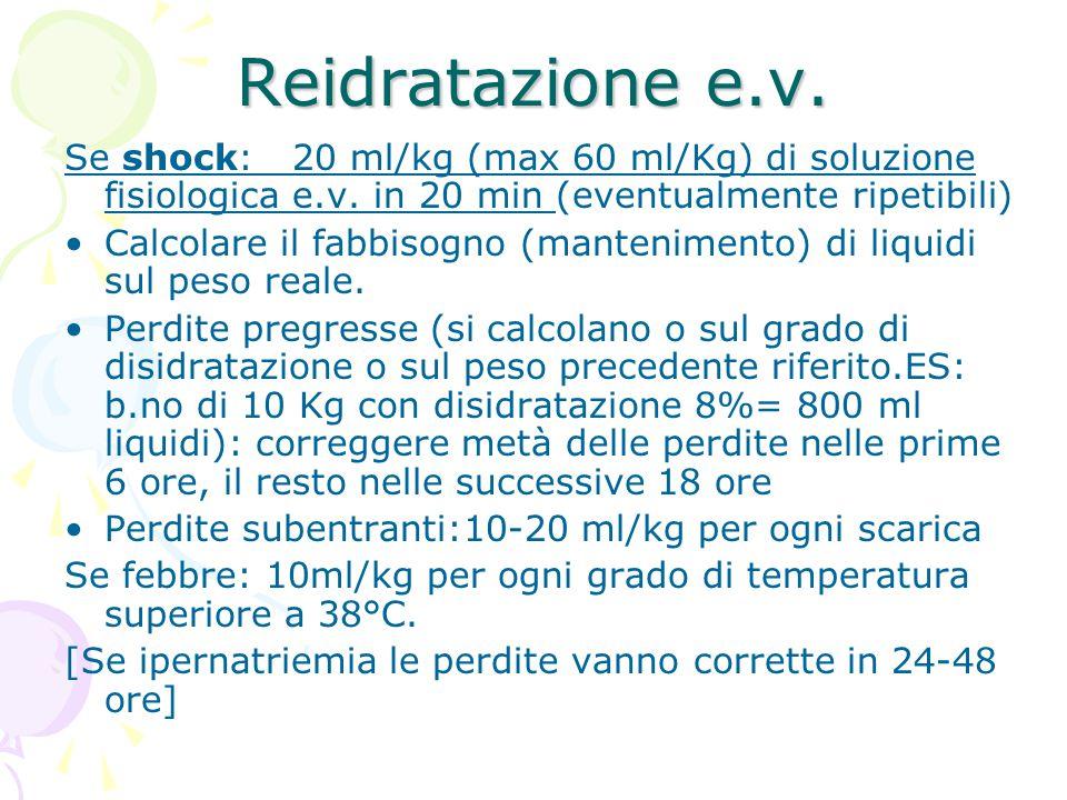 Reidratazione e.v. Se shock: 20 ml/kg (max 60 ml/Kg) di soluzione fisiologica e.v. in 20 min (eventualmente ripetibili) Calcolare il fabbisogno (mante