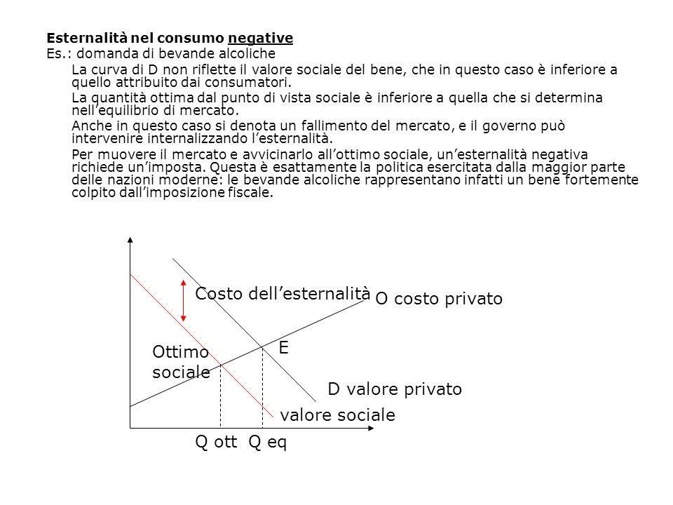 Esternalità nel consumo negative Es.: domanda di bevande alcoliche La curva di D non riflette il valore sociale del bene, che in questo caso è inferio