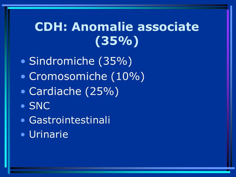 CDH: Anomalie associate (35%) Sindromiche (35%) Cromosomiche (10%) Cardiache (25%) SNC Gastrointestinali Urinarie