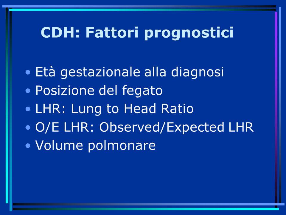 CDH: Fattori prognostici Età gestazionale alla diagnosi Posizione del fegato LHR: Lung to Head Ratio O/E LHR: Observed/Expected LHR Volume polmonare