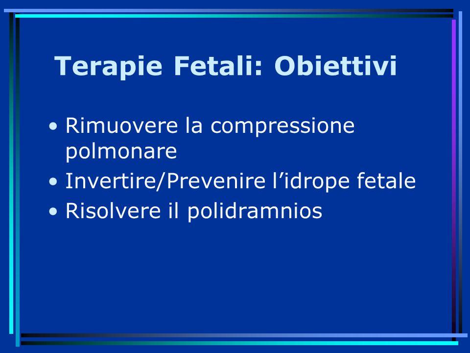 Terapie Fetali: Obiettivi Rimuovere la compressione polmonare Invertire/Prevenire l'idrope fetale Risolvere il polidramnios