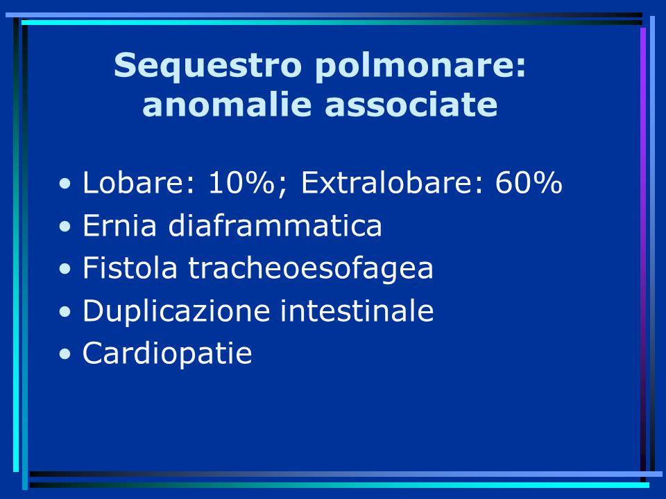 Sequestro polmonare: anomalie associate Lobare: 10%; Extralobare: 60% Ernia diaframmatica Fistola tracheoesofagea Duplicazione intestinale Cardiopatie