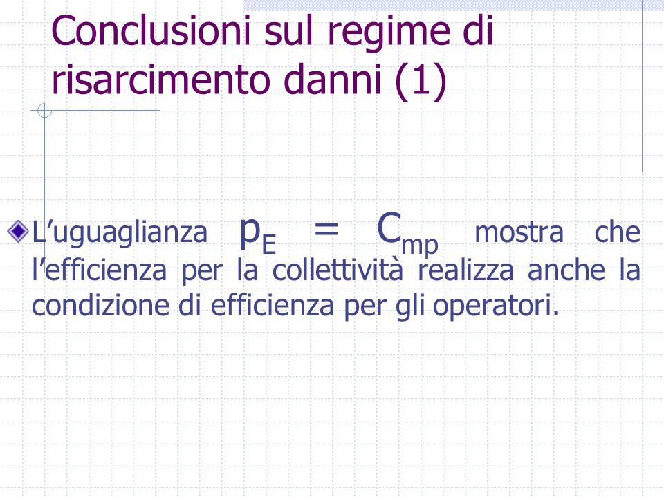 L'uguaglianza p E = C mp mostra che l'efficienza per la collettività realizza anche la condizione di efficienza per gli operatori. Conclusioni sul reg