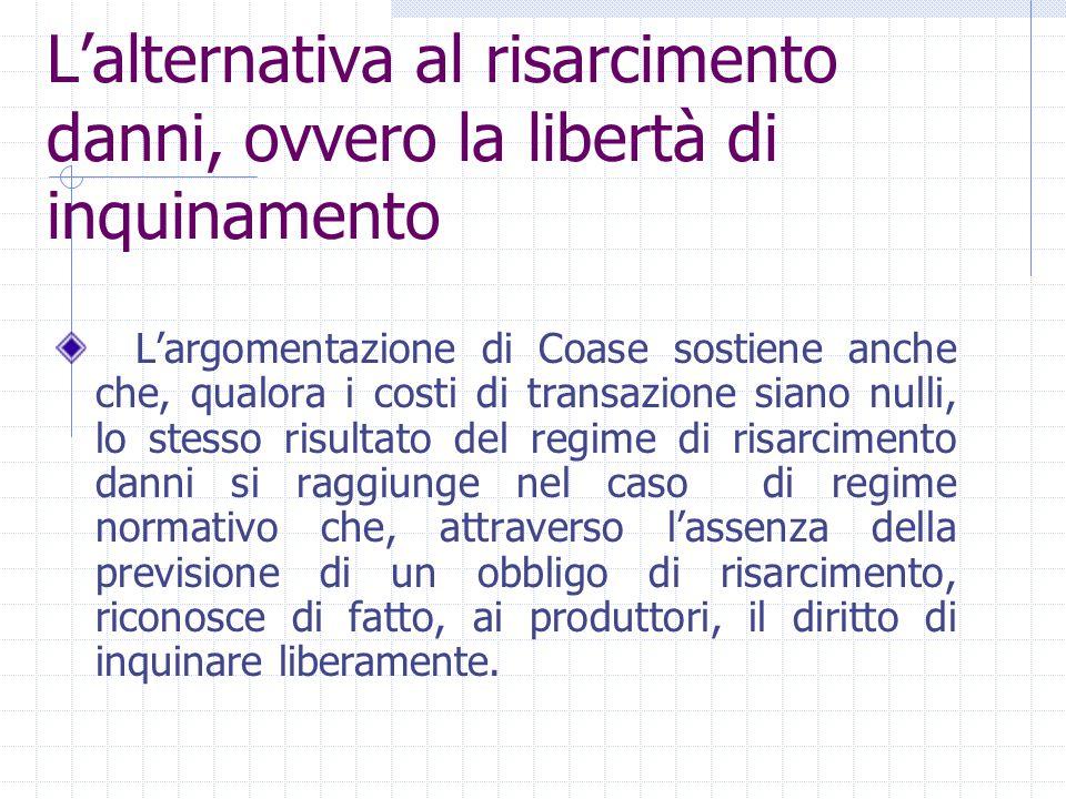 L'argomentazione di Coase sostiene anche che, qualora i costi di transazione siano nulli, lo stesso risultato del regime di risarcimento danni si ragg