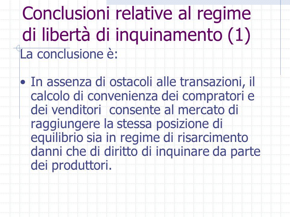 La conclusione è: In assenza di ostacoli alle transazioni, il calcolo di convenienza dei compratori e dei venditori consente al mercato di raggiungere