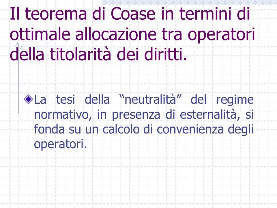 """Il teorema di Coase in termini di ottimale allocazione tra operatori della titolarità dei diritti. La tesi della """"neutralità"""" del regime normativo, in"""