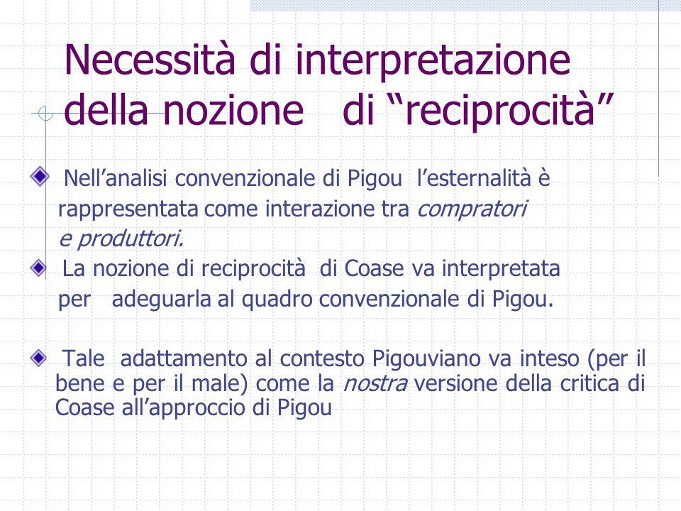 """Necessità di interpretazione della nozione di """"reciprocità"""" Nell'analisi convenzionale di Pigou l'esternalità è rappresentata come interazione tra com"""