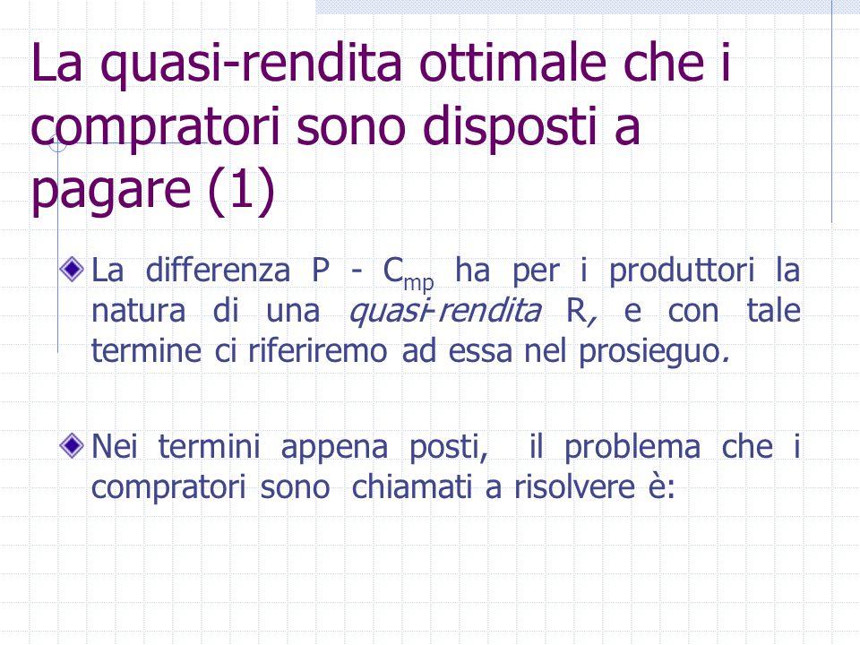 La quasi-rendita ottimale che i compratori sono disposti a pagare (1) La differenza P - C mp ha per i produttori la natura di una quasi-rendita R, e c