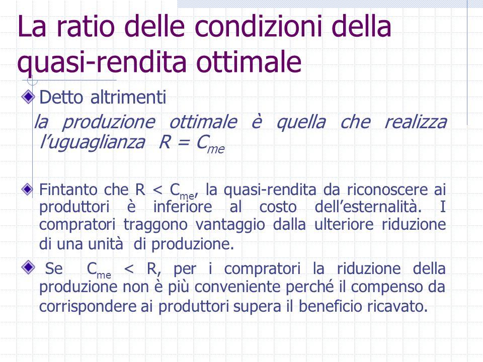 La ratio delle condizioni della quasi-rendita ottimale Detto altrimenti la produzione ottimale è quella che realizza l'uguaglianza R = C me Fintanto c
