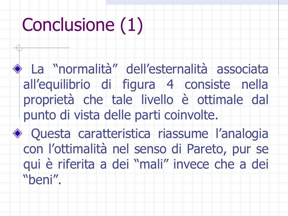 """Conclusione (1) La """"normalità"""" dell'esternalità associata all'equilibrio di figura 4 consiste nella proprietà che tale livello è ottimale dal punto di"""