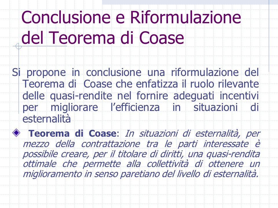 Conclusione e Riformulazione del Teorema di Coase Si propone in conclusione una riformulazione del Teorema di Coase che enfatizza il ruolo rilevante d
