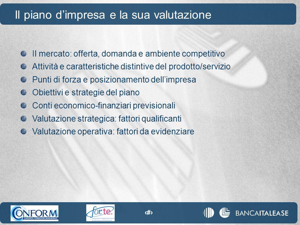 11 Il piano d'impresa e la sua valutazione Il mercato: offerta, domanda e ambiente competitivo Attività e caratteristiche distintive del prodotto/serv