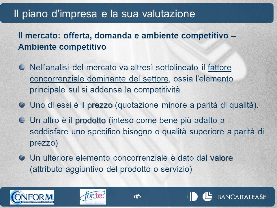 15 Il mercato: offerta, domanda e ambiente competitivo – Ambiente competitivo Il piano d'impresa e la sua valutazione Nell'analisi del mercato va altr