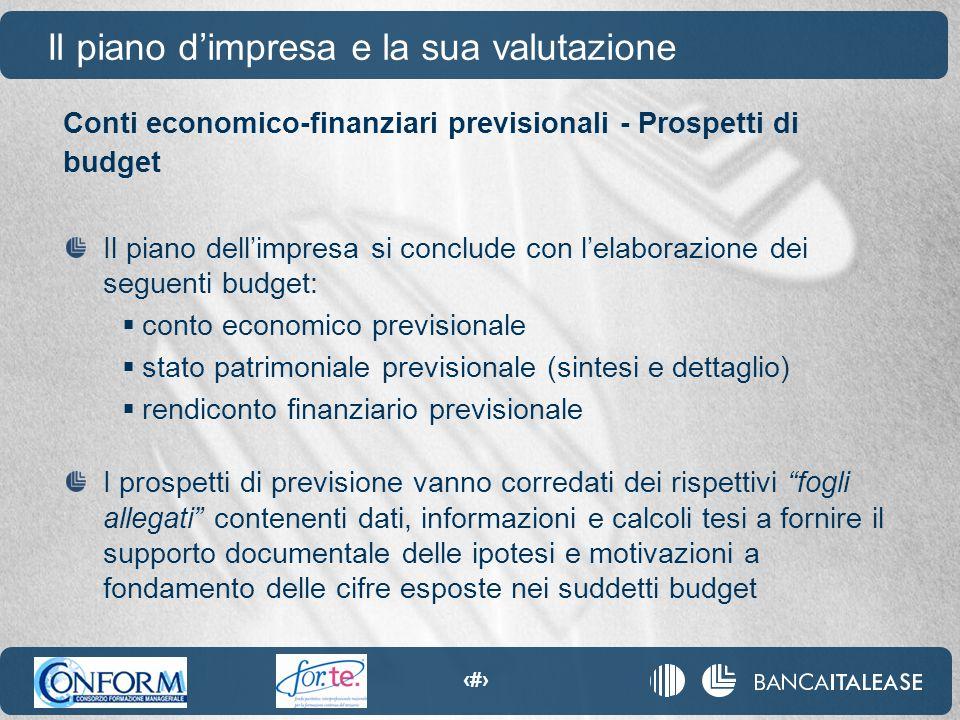 19 Conti economico-finanziari previsionali - Prospetti di budget Il piano d'impresa e la sua valutazione Il piano dell'impresa si conclude con l'elabo