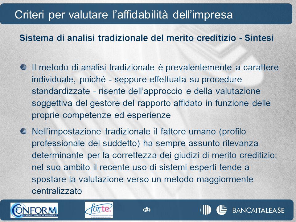 24 Sistema di analisi tradizionale del merito creditizio - Sintesi Il metodo di analisi tradizionale è prevalentemente a carattere individuale, poiché