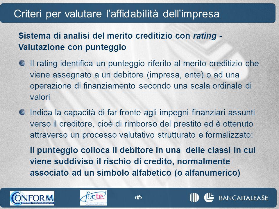 26 Sistema di analisi del merito creditizio con rating - Valutazione con punteggio Il rating identifica un punteggio riferito al merito creditizio che