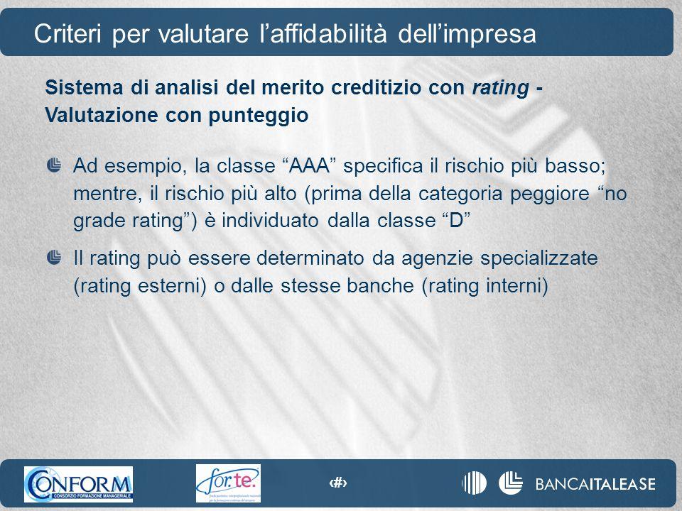 """27 Sistema di analisi del merito creditizio con rating - Valutazione con punteggio Ad esempio, la classe """"AAA"""" specifica il rischio più basso; mentre,"""