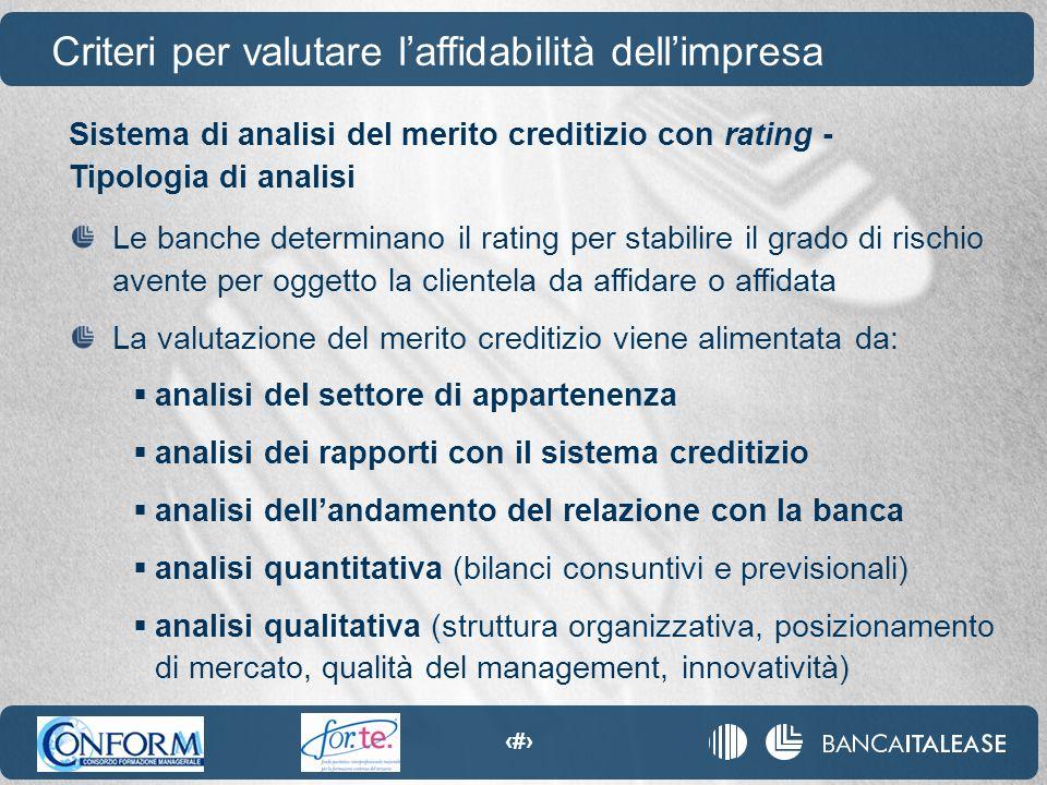 29 Sistema di analisi del merito creditizio con rating - Tipologia di analisi Le banche determinano il rating per stabilire il grado di rischio avente
