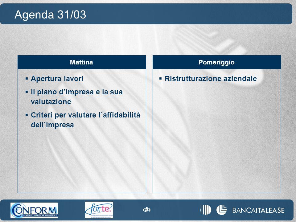 3  Apertura lavori  Il piano d'impresa e la sua valutazione  Criteri per valutare l'affidabilità dell'impresa Agenda 31/03 MattinaPomeriggio  Rist
