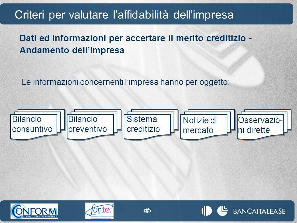 33 Criteri per valutare l'affidabilità dell'impresa Dati ed informazioni per accertare il merito creditizio - Andamento dell'impresa Bilancio consunti