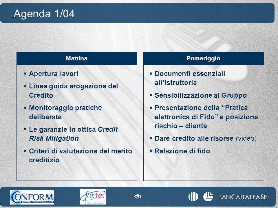 4  Apertura lavori  Linee guida erogazione del Credito  Monitoraggio pratiche deliberate  Le garanzie in ottica Credit Risk Mitigation  Criteri d