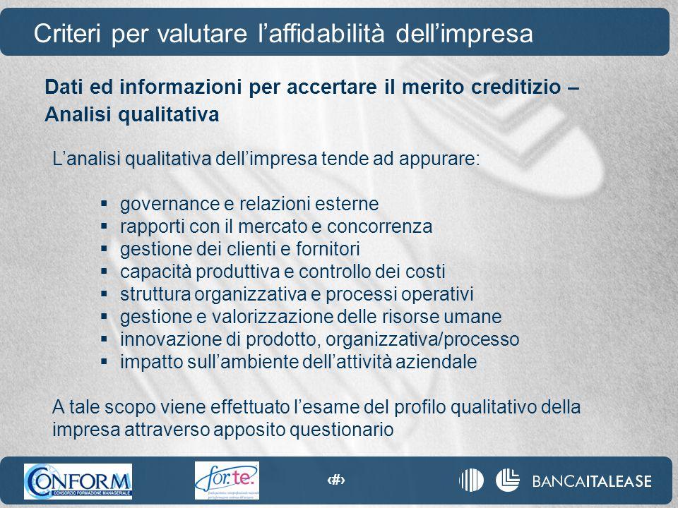 40 analisi qualitativa L'analisi qualitativa dell'impresa tende ad appurare:  governance e relazioni esterne  rapporti con il mercato e concorrenza