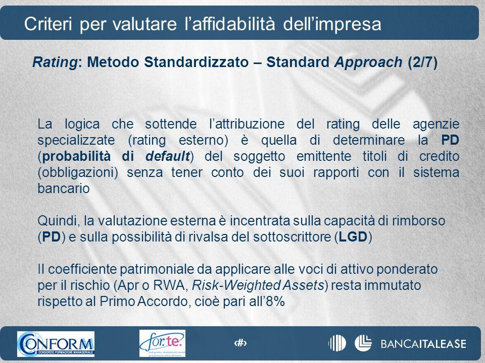 44 La logica che sottende l'attribuzione del rating delle agenzie specializzate (rating esterno) è quella di determinare la PD (probabilità di default