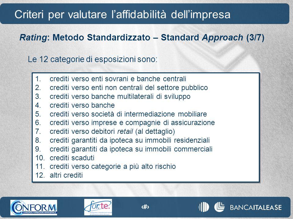 45 Le 12 categorie di esposizioni sono: 1.crediti verso enti sovrani e banche centrali 2.crediti verso enti non centrali del settore pubblico 3.credit