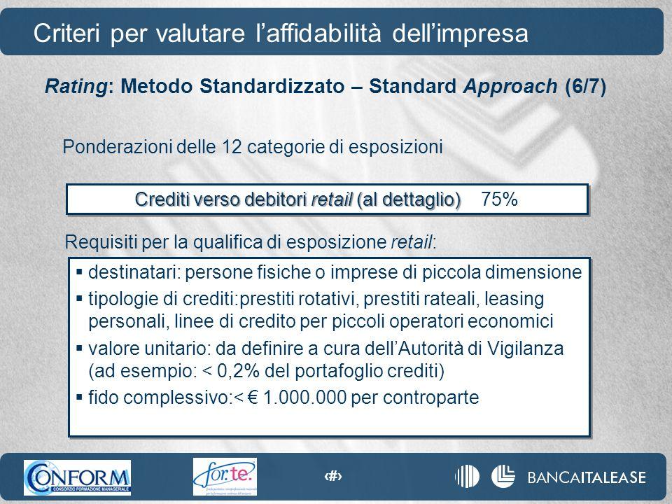 48 Requisiti per la qualifica di esposizione retail: Crediti verso debitori retail (al dettaglio) Crediti verso debitori retail (al dettaglio) 75%  d