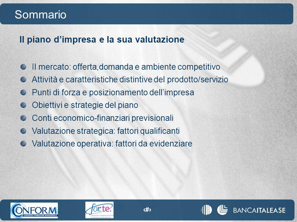 7 Il piano d'impresa e la sua valutazione Sommario Il mercato: offerta,domanda e ambiente competitivo Attività e caratteristiche distintive del prodot
