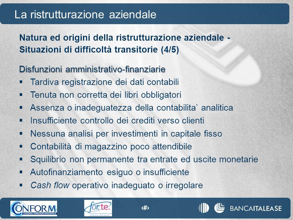 70 Natura ed origini della ristrutturazione aziendale - Situazioni di difficoltà transitorie (4/5) La ristrutturazione aziendale Disfunzioni amministr