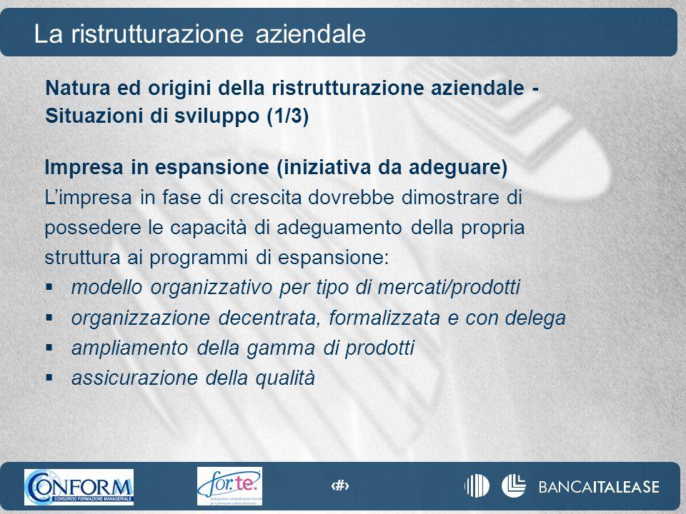 72 Natura ed origini della ristrutturazione aziendale - Situazioni di sviluppo (1/3) La ristrutturazione aziendale Impresa in espansione (iniziativa d