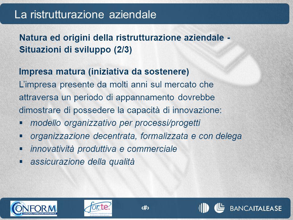 73 Natura ed origini della ristrutturazione aziendale - Situazioni di sviluppo (2/3) La ristrutturazione aziendale Impresa matura (iniziativa da soste