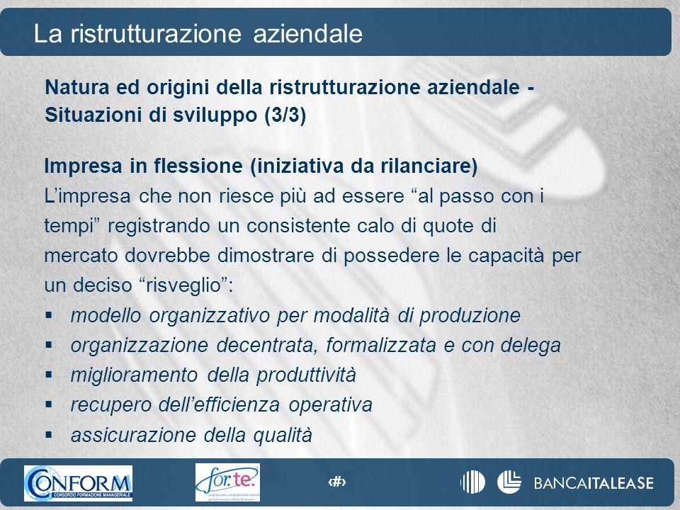 74 Natura ed origini della ristrutturazione aziendale - Situazioni di sviluppo (3/3) La ristrutturazione aziendale Impresa in flessione (iniziativa da