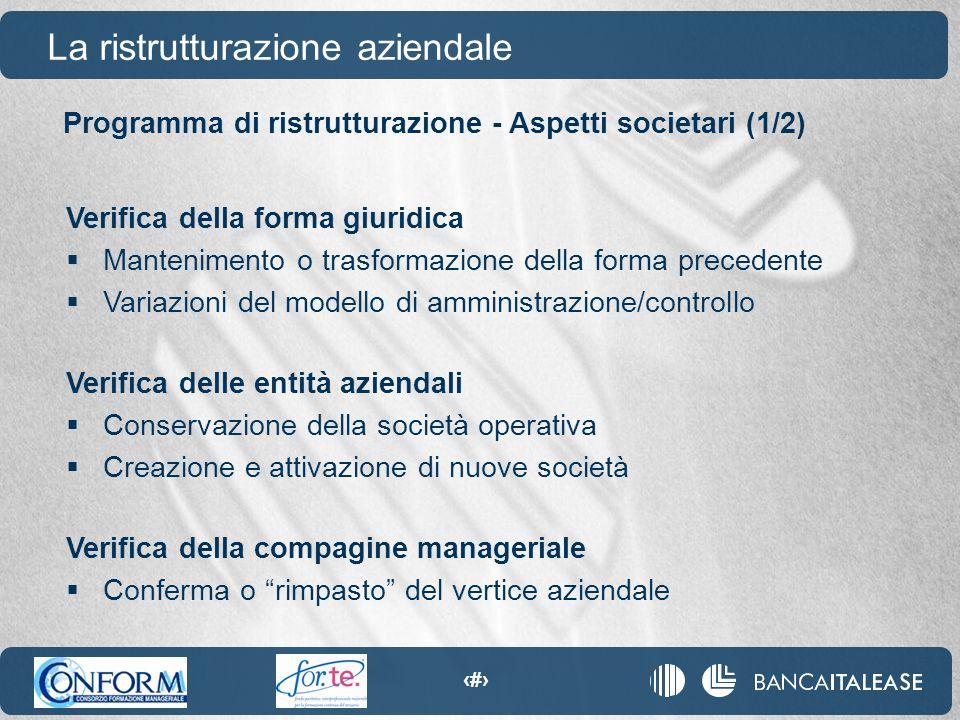 75 Programma di ristrutturazione - Aspetti societari (1/2) La ristrutturazione aziendale Verifica della forma giuridica  Mantenimento o trasformazion